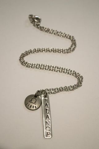 Berkley's Boutique - Libra Zodiac Balance Bar Necklace, Astrology, Nickel Free, Hand Made, Jewelry, Shop Local, Bar Necklace, Metal Stamping, Scale, Fair