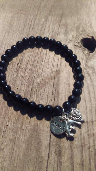 Crafted Jewelry Strong, Black, Onyx, Fierce, Negative Be Gone, Leo, Lion, Hand Made