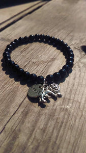 Crafted Jewelry Lion Bracelet, Black Onyx Gemstones, Beast, Fierce, Negativity, Release, Lion