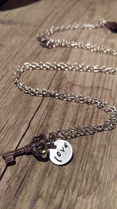 Berkley's Boutique - Love Is Key Necklace, Silver, Handstamped, Hand Made, Love, Key, Peace
