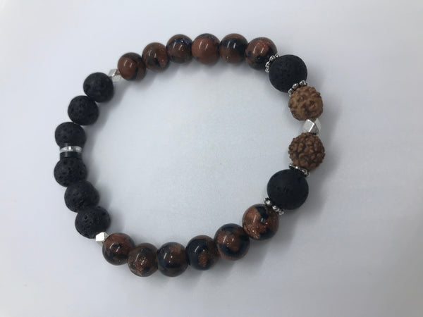 Sparkle Bright Bracelet - With Mixed Goldstone, Lava Stone & Rudraksha