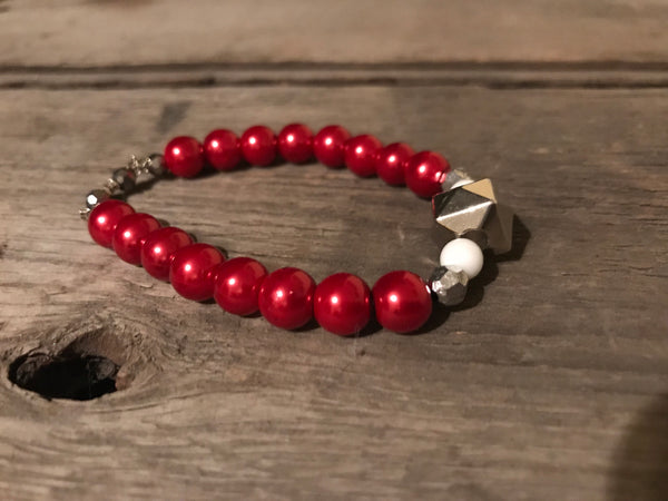 Maroon Bling and Stars Bracelet - Berkley's Boutique