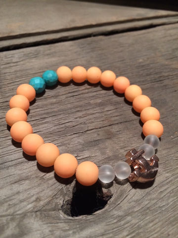 Berkleys Boutique - Hand Crafted Bracelet, Hand Strung Gemstone Beads, Turquoise Stone, Quartz, Rose Gold Anchor