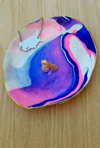 Crafted Jewelry Berkley's Boutique - Clay Jewelry Dish, Colourful, Colorful, Handmade, Hand Crafted, Blue, Pink, White Gold, Jewlery Care