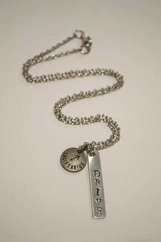 Crafted Jewelry Berkley's Boutique - Sagittarius Zodiac Driven Bar Necklace, Astrology, Nickel Free, Hand Made, Jewelry, Shop Local, Bar Necklace, Metal Stamping, Gift, Friend Gifts, Drive, Focused
