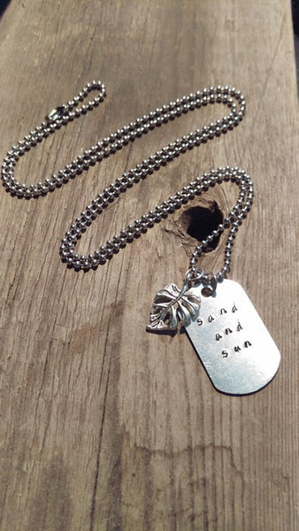 Sand and Sun Silver Dog Tag Necklace With Palm Leaf - Berkley's Boutique