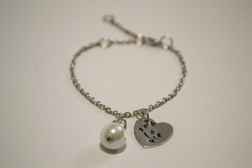 Crafted Jewelry Berkley's Boutique - Sea La Vie Heart Stamped Bracelet with Pearl Charm, Goodvibes, Hand Made, Jewelry, Nickel Free, Shop Local, Sparkle, Heart, Pearls, Playful, Ce La Vie,