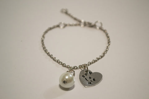 Berkley's Boutique - Sea La Vie Heart Stamped Bracelet with Pearl Charm, Goodvibes, Hand Made, Jewelry, Nickel Free, Shop Local, Sparkle, Heart, Pearls, Playful, Ce La Vie,