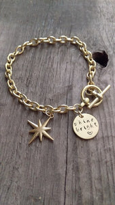 Crafted Jewelry Berkley's Boutique - Our Original Gold Shine Bright Bracelet , Gold, Hand Stamped, Diamond, Star, Sparkle, Unique, Gifts For Her, Bracelet, Heart
