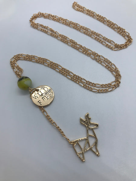 Hand Stamped WILD & FREE Deer Gold Necklace
