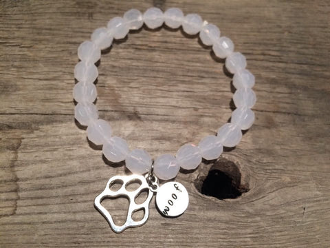 Berkleys Boutique - Hand Made White Dog Paw Bracelet, Hand Strung, Hand Stamped, Paw Print, Wag