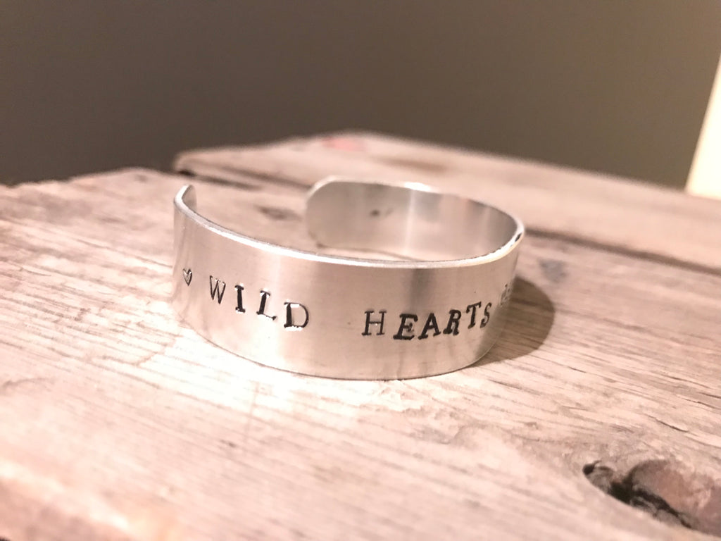 Hand Crafted Silver Wrist Cuff, Wild Hearts Can't Be Broken, P!NK Lyrics, Pink, Silver, Hand Stamped, Hand Made