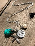 Beach Vibez Hand Crafted - Berkley's Boutique, Hand Crafted Necklace, Silver Starfish, Turquoise Stone, Beach, Ocean, Pearl Necklace