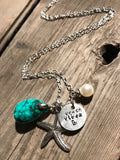 Beach Vibez - Silver Charm Necklace With Starfish, Turquoise Stone and Pearl - Berkley's Boutique