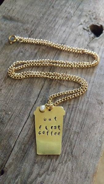 But First Coffee - Gold Necklace Coffee Cup With Pearl - Berkley's Boutique