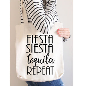 Canvas Tote, Beach Bag, Fiesta, Sietsa Tequila Repeat, Party Bag, Lake Tote
