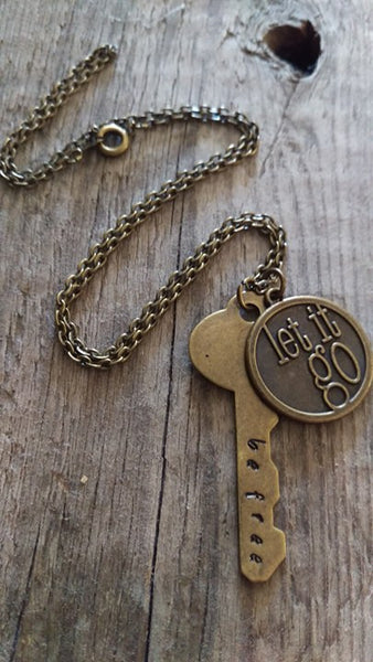 Berkleys Boutique - Let Go, Be Free, Key, Charm, Freedom,Bronze, GiftsForHer, HandStamped, Hypoallergenic, Oneofakind, Necklace,