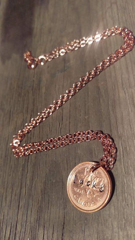 Berkley's Boutique - Copper Lucky Penny Necklace, Hand Stamped, Penny, Pennies, Copper, Sparkle, Shine