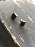 Black Druzy Gold Plated - Earring Studs - Berkley's Boutique