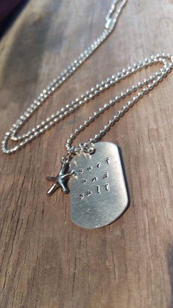 Surf and Salt Dog Tag Necklace with Starfish - Berkley's Boutique