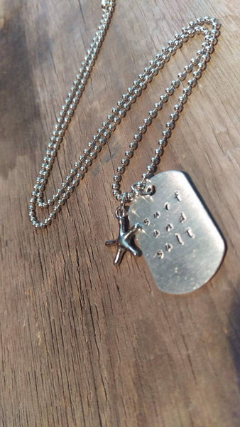 Surf and Salt Dog Tag Necklace with Starfish