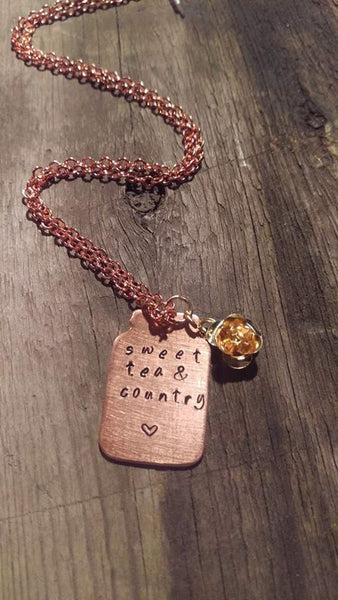 Sweet Tea & Country - Copper Mason Jar Shape Necklace with Rose Charm - Berkley's Boutique
