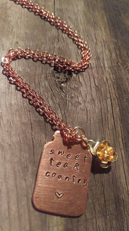 Crafted Jewelry Berkleys Boutique -16 Inch Copper Necklace, Hand Stamped, Sweet Tear, Country, Country Girl, Rose Charm, Gold, Copper