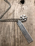 Winter's Butterfly - Snowflake Hand-stamped Silver Necklace - Berkley's Boutique