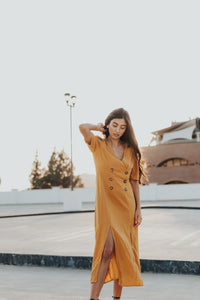 Buttoned Down Midi Dress