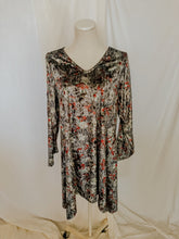Load image into Gallery viewer, Grey Blossom Velvet Dress