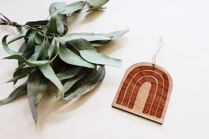 Modern Rainbow Wood Ornament
