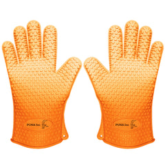 Silicone Heat Resistant Grill Cooking Gloves - Oven Mitts - 5