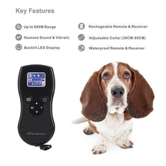Remote Dog Training Collar, Shock, Voice, Beep, Vibrate Bark Collar for Training Dogs, 880 Yard Rechargeable and Waterproof E-Collar Trainer