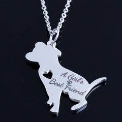 Women Pet PitBull A Girl's Best Friend Charm Choker Chain Statement Necklace Jewelry