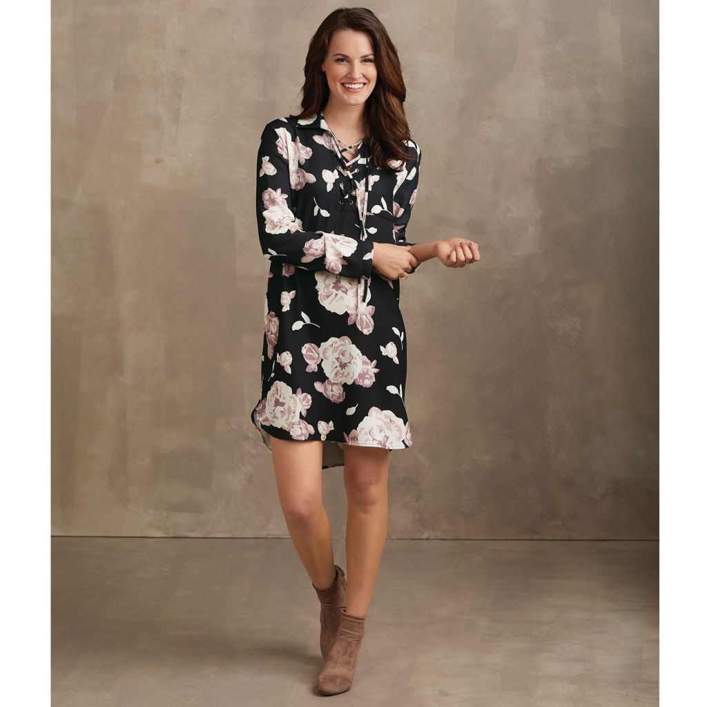 Kinsley Lace-Up Dress Black Rose Assortment