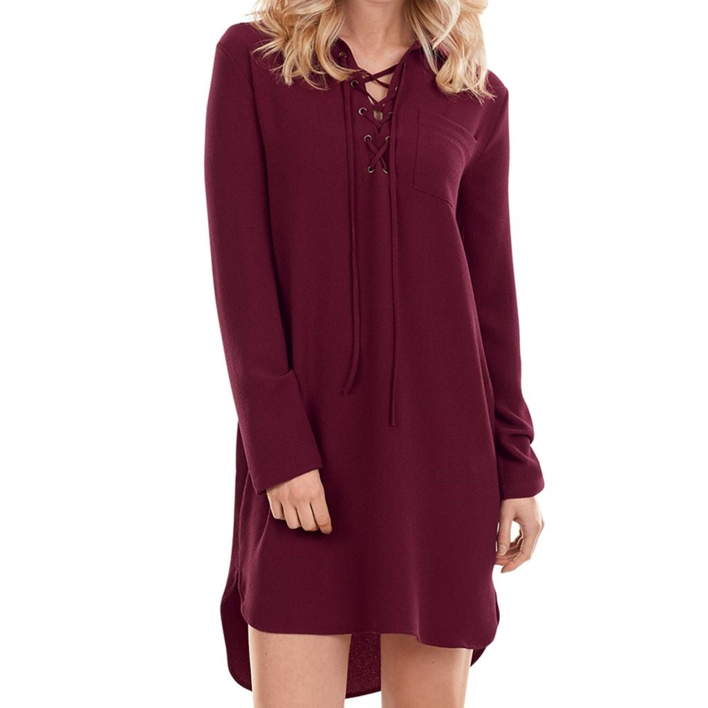 Kinsley Lace-Up Dress Merlot