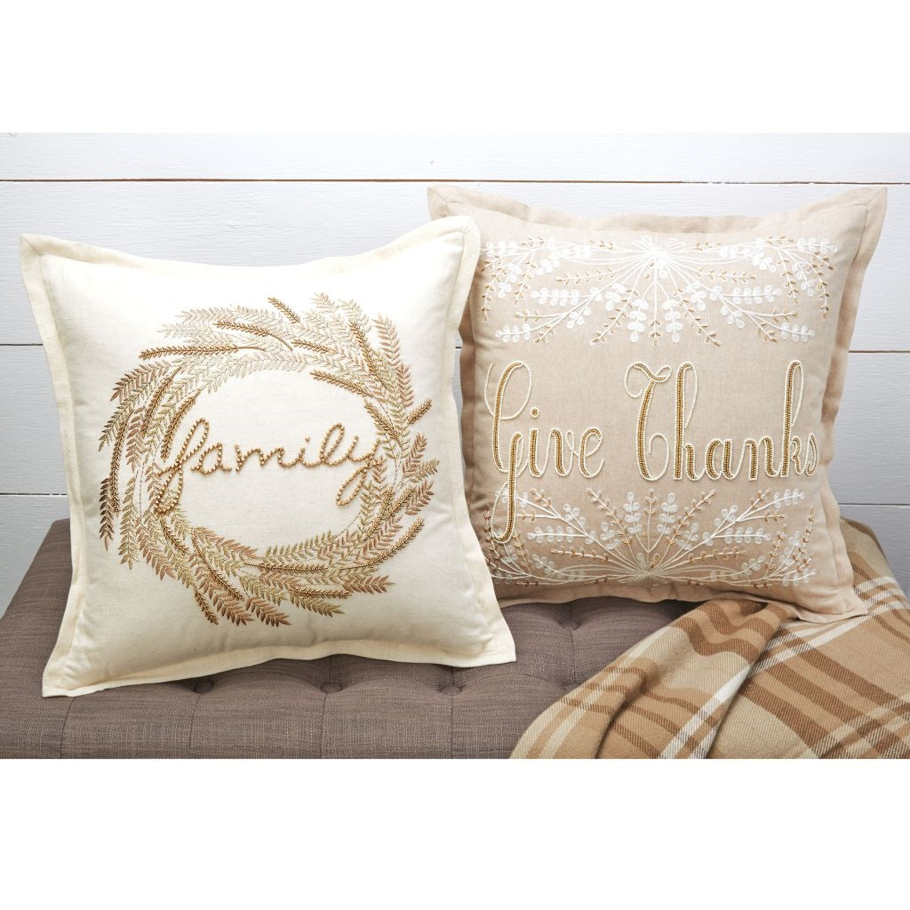 Family & Give Thanks Beaded Pillows