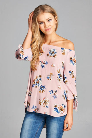 Off the Shoulder Floral top - Blush