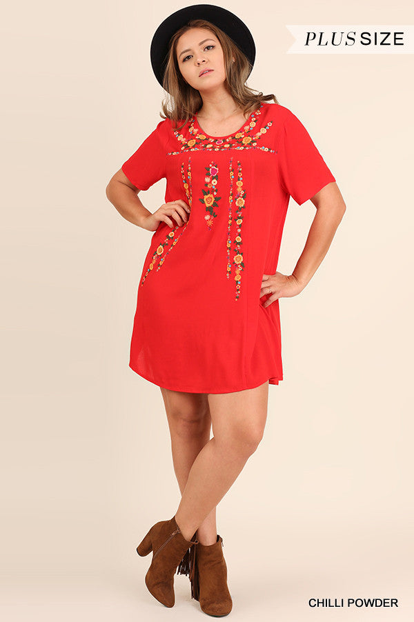 Floral Embroidery detail Dress in Red - Plus