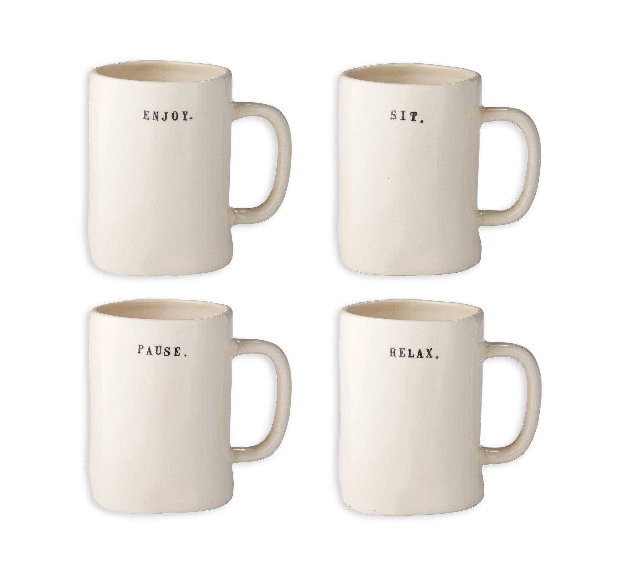 Rae Dunn Mugs - Sit, Pause, Enjoy, Relax