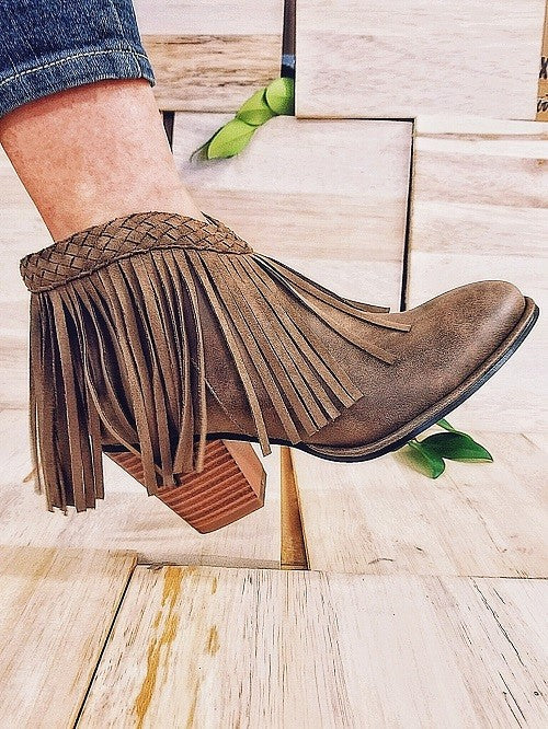 Front V Cut Braided Fringe Booties