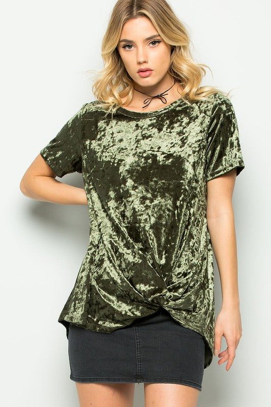 Side Knot Velvet Short Sleeve Shirt - Olive