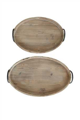 Decorative Wood Trays w/ Metal Handles, Set of 2