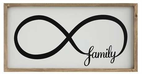 "Wood Framed Infinity Sign & ""Family"" Wall Décor"
