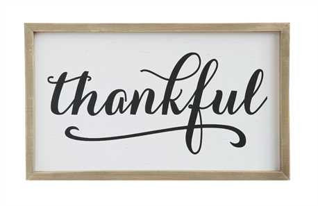 "Pine Wood Framed ""Thankful"" Wall Décor"