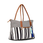 Mercado Hand-Woven with leather detail Weekender - Black - Natural