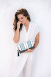Mercado Hand-Woven with leather detail Clutch - Blue/Natural/Black