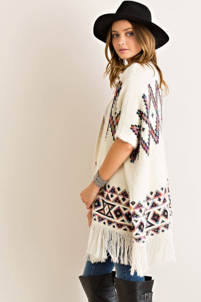 Soft tribal print short sleeve cardigan - Ivory/Multi