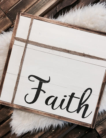Faith Farmhouse Style Wood Sign