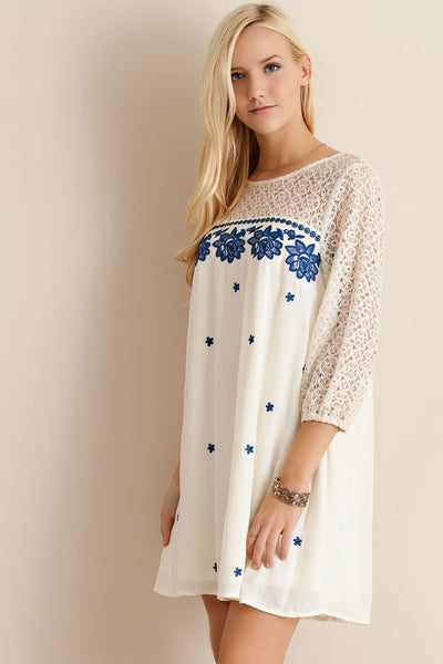 Solid embroidered shift dress